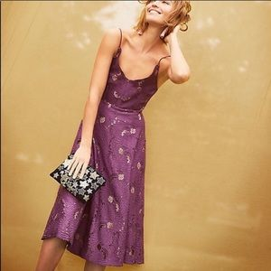Moulinette Souers Scalloped Lace Purple Midi Dress